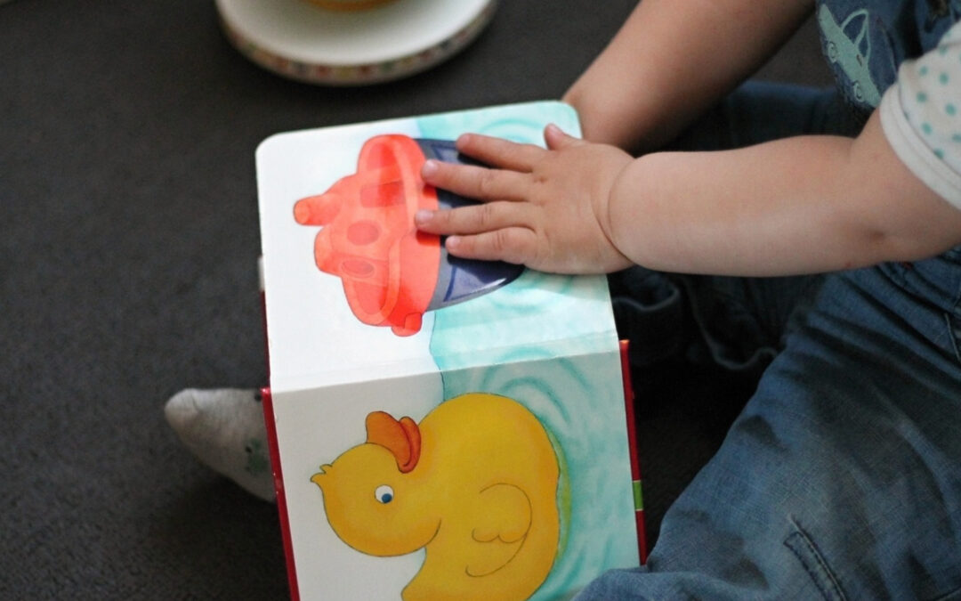 Pic of a baby's hands on a baby book