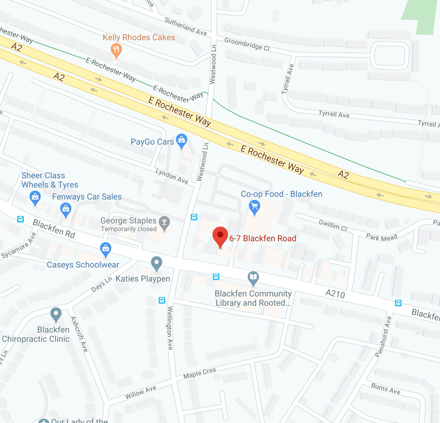 Map location of Blackfen Community Library