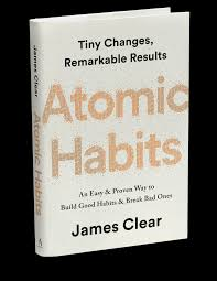 White book cover for James Clear's Atomic Habits